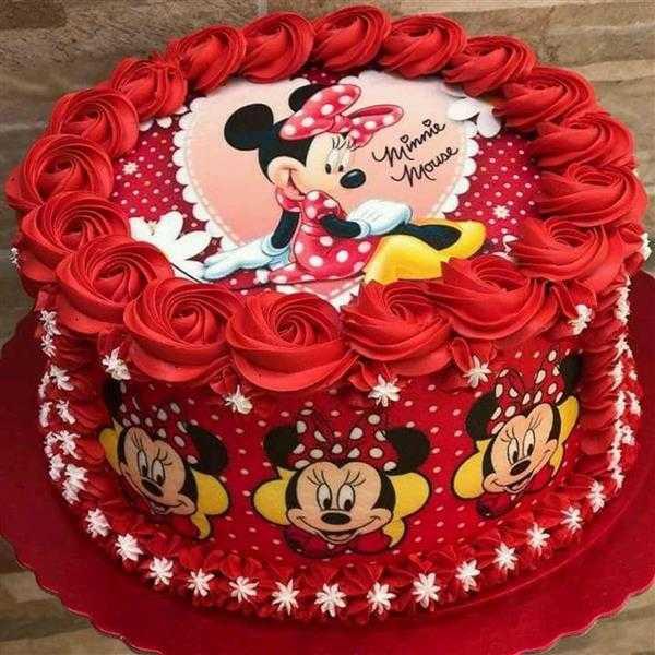 bolo da minnie vermelho com papel de arroz