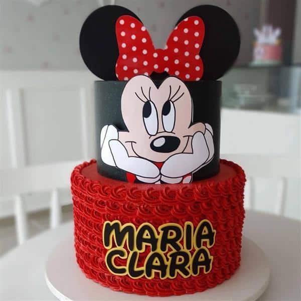 bolo da minnie vermelho