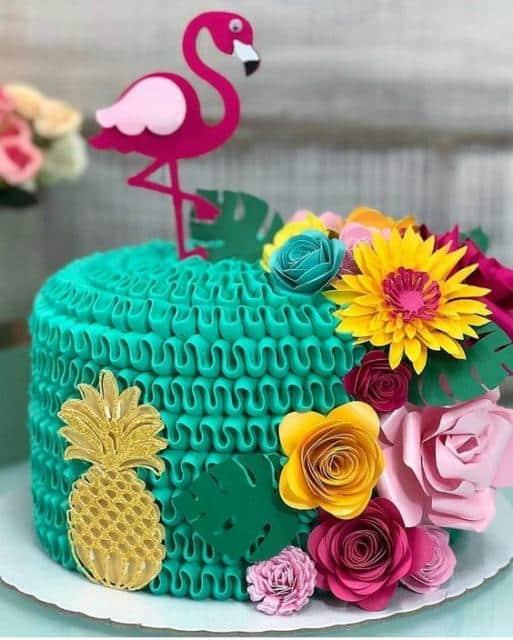 decoração de bolo do flamingo