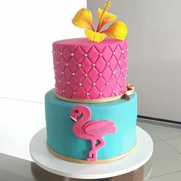 bolo flamingo luxo