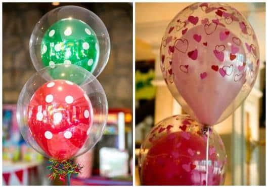 decoração de festa com baloes transparentes