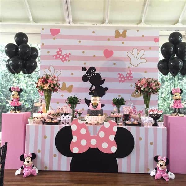 festa minnie com baloes pretos