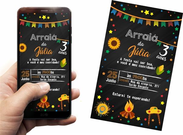 Convite festa junina virtual