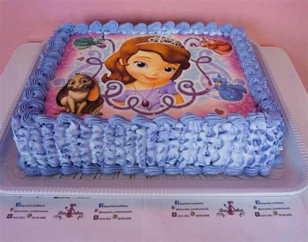 bolo da princesa sofia de papel de arroz