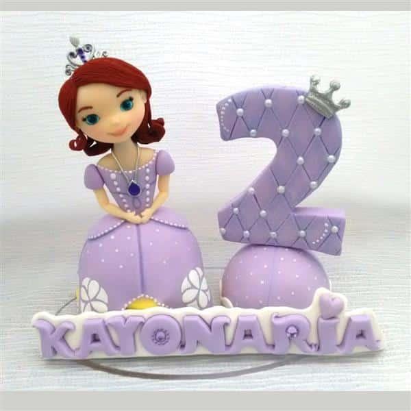 topo de bolo de biscuit da princesa sofia