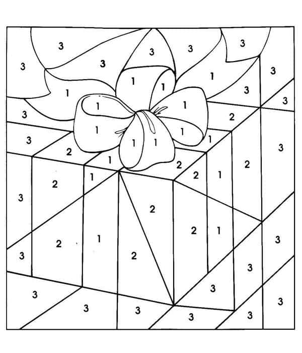 caixa de presente de natal para colorir