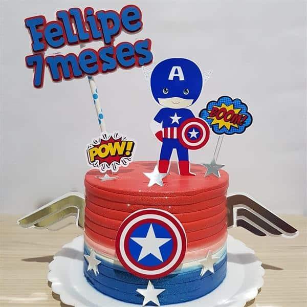 bolo do capitão américa para bebê