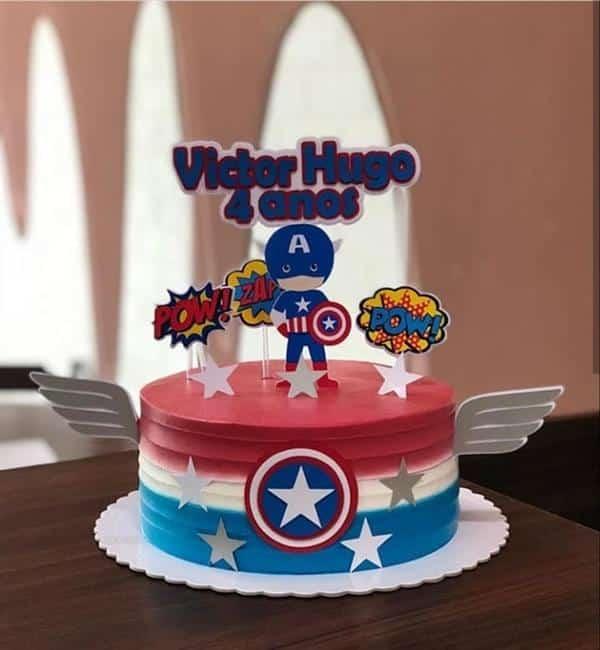 decoração de bolo do capitão américa