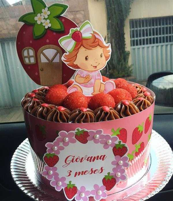 faixa lateral de bolo moranguinho