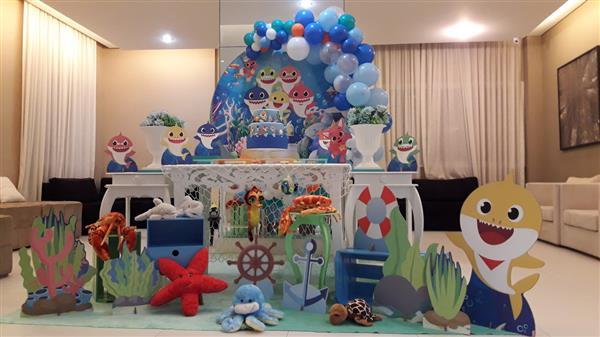 decoração Baby Shark azul