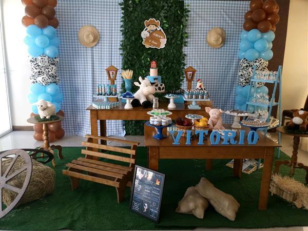 festa fazendinha azul