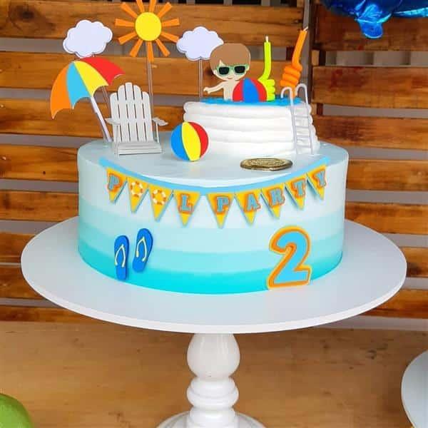 bolo festa na piscina