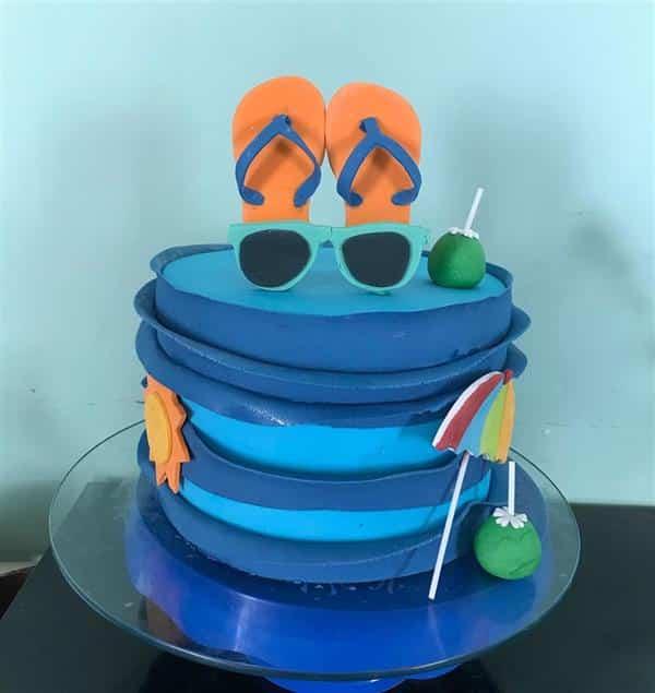 bolo de 1 andar azul