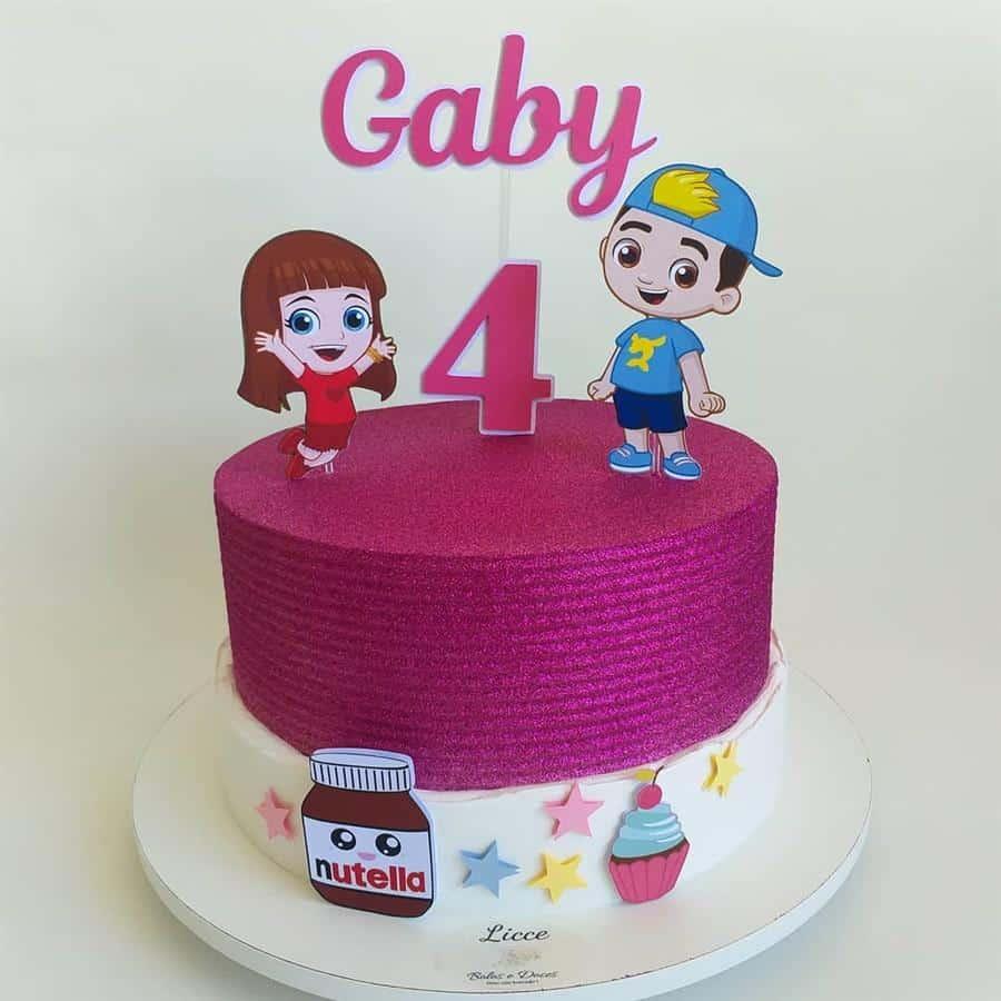 bolo cachepot rosa e branco