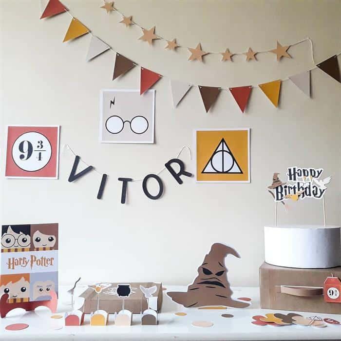 festa infantil harry potter simples