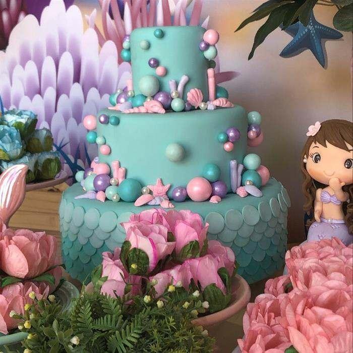 modelo de bolo para festa sereia