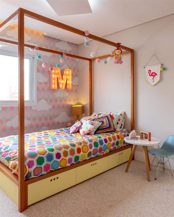 decoração de quarto infantil feminino colorido