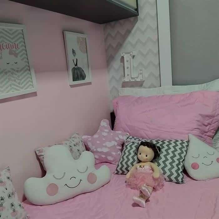 quarto infantil feminino cinza e rosa