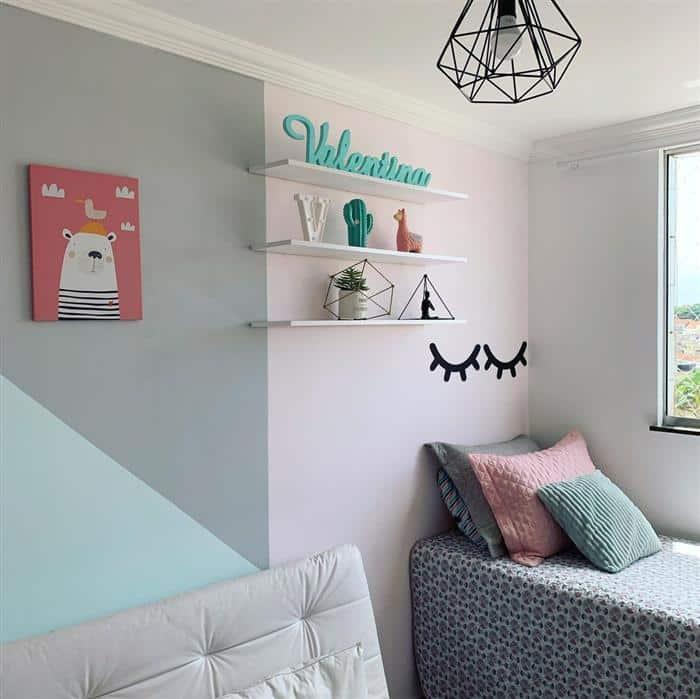 quarto infantil feminino com duas camas