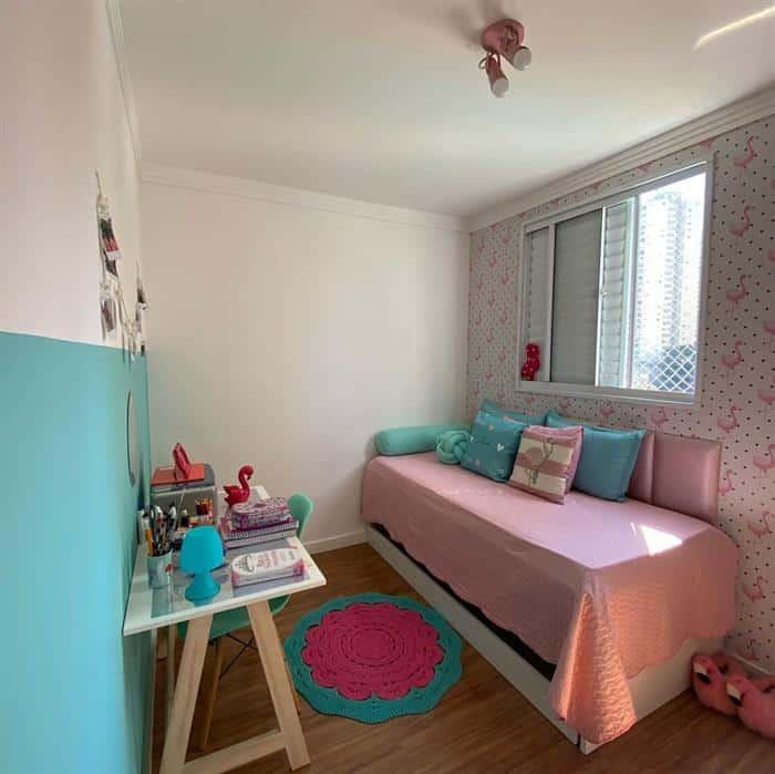quarto infantil feminino com escrivaninha