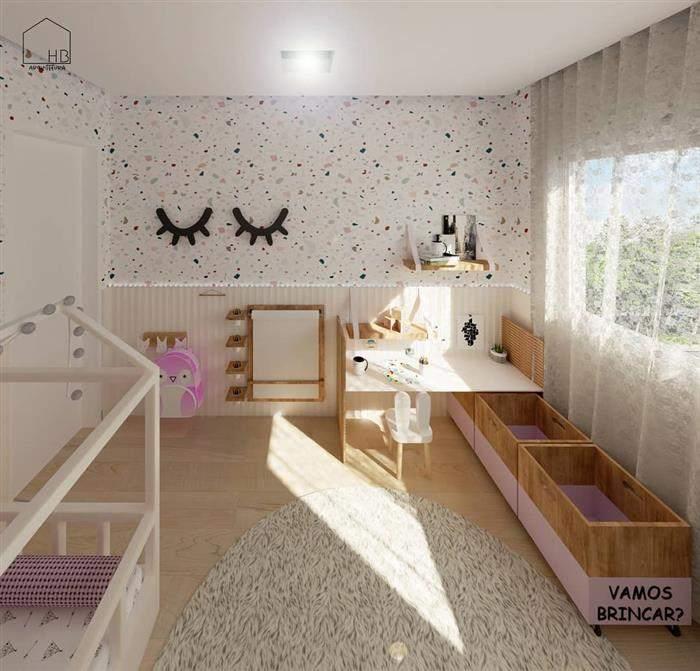 quarto infantil feminino com papel de parede