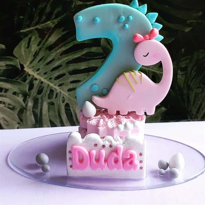 festa de dinossauro rosa